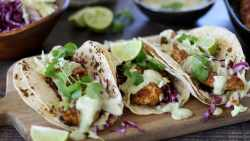 Chicken taco recipe with a creamy avocado and cilantro sauce